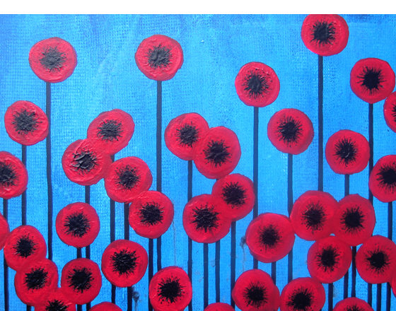 red poppies on a blue background
