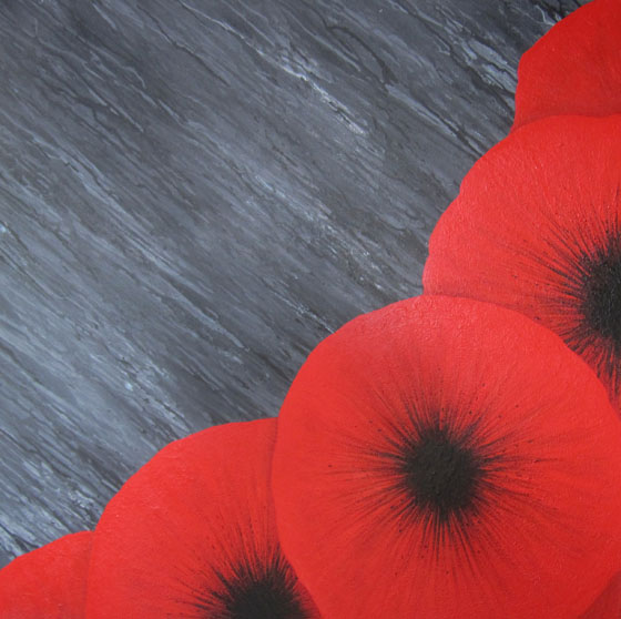 red poppies - rainy day